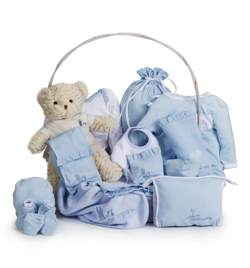 Canasta Bebé Clásica Plena Azul