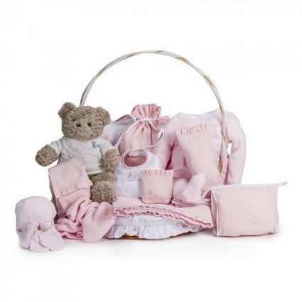 Canasta Bebé Clásica Plena Rosa