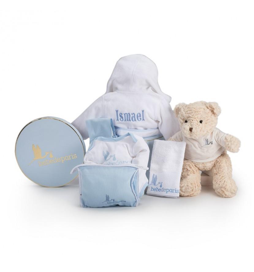 Canasta Bebé Mi Bata de Baño Bordada Azul