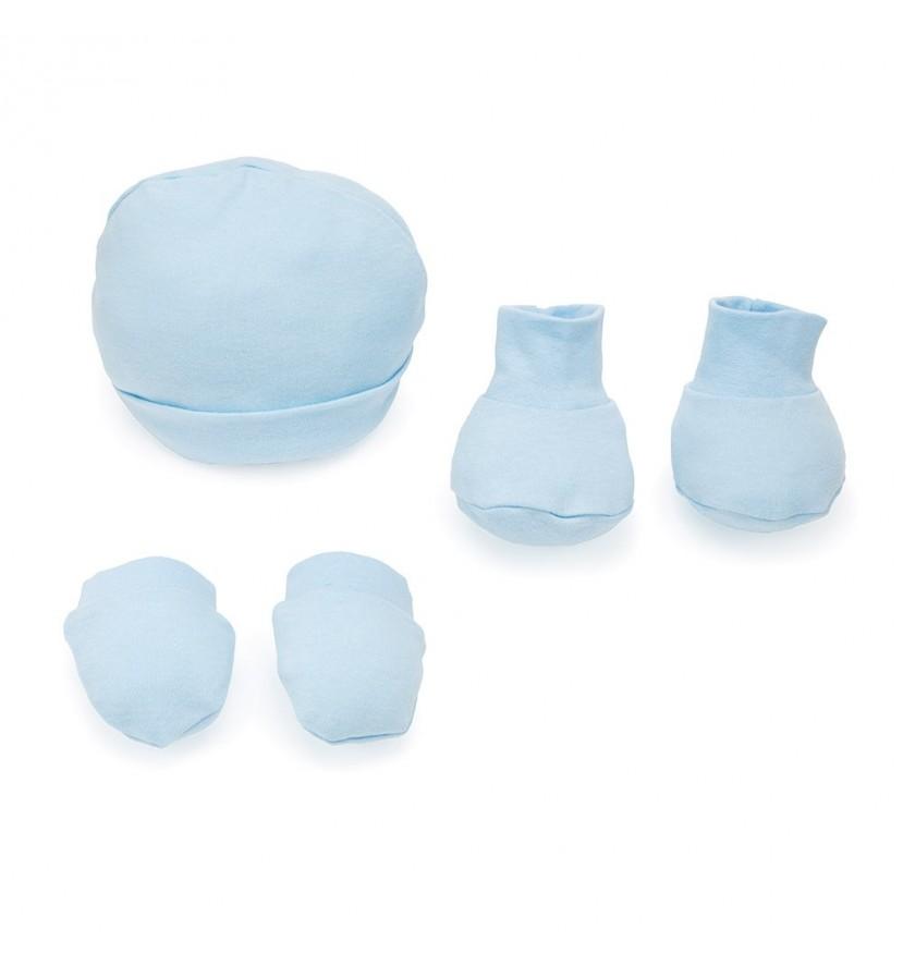 Set Sombrero, Botines y Mitones Azul