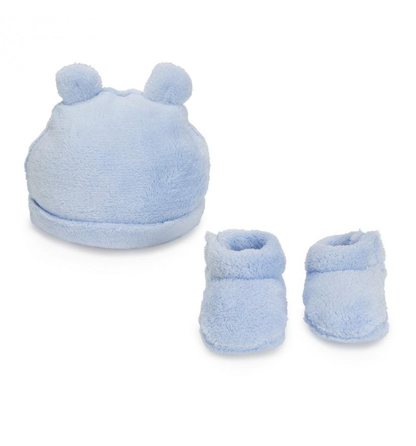 Set Sombrero y Botines Osito Azul