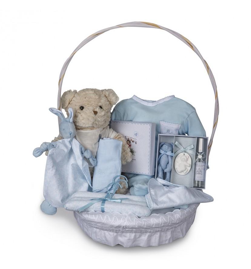 Canasta Bebé Vintage Plena Azul