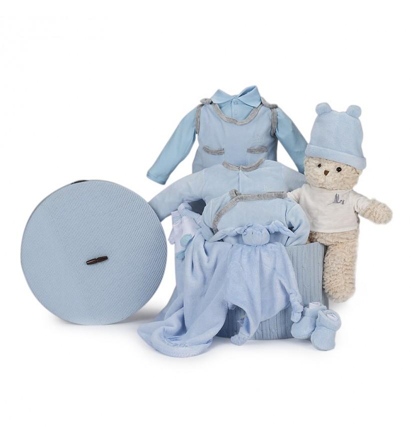 Canasta Bebé Velour Plena Azul