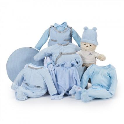 Canasta Bebé Velour Ensueño Azul