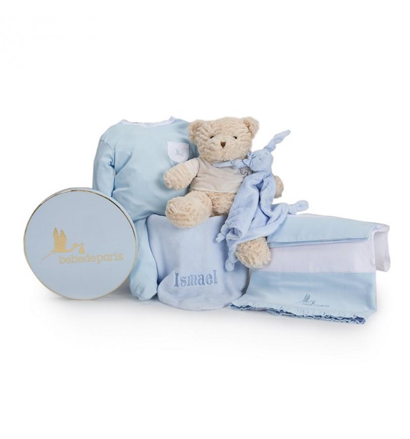 Canasta Bebé Mi Sueño Bordado Azul
